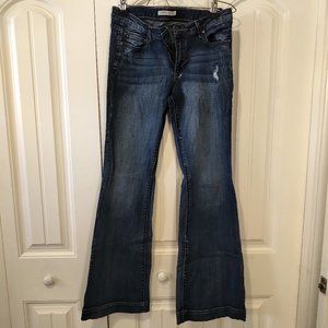 NWOT JustFab Distressed Mid Rise Flare jeans